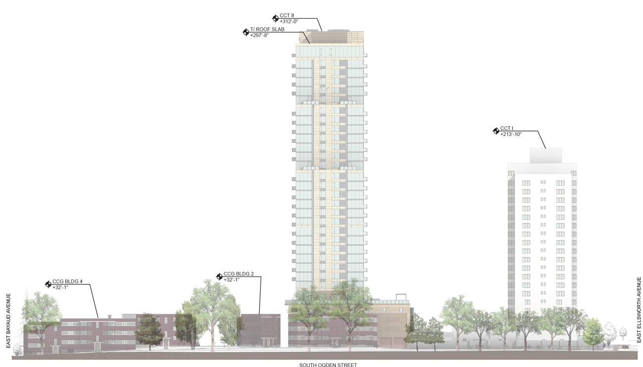A Rendering Showing The Height In Relation To The Existing Country Club  Gardens Tower, Which Is Currently The Tallest In The Area:
